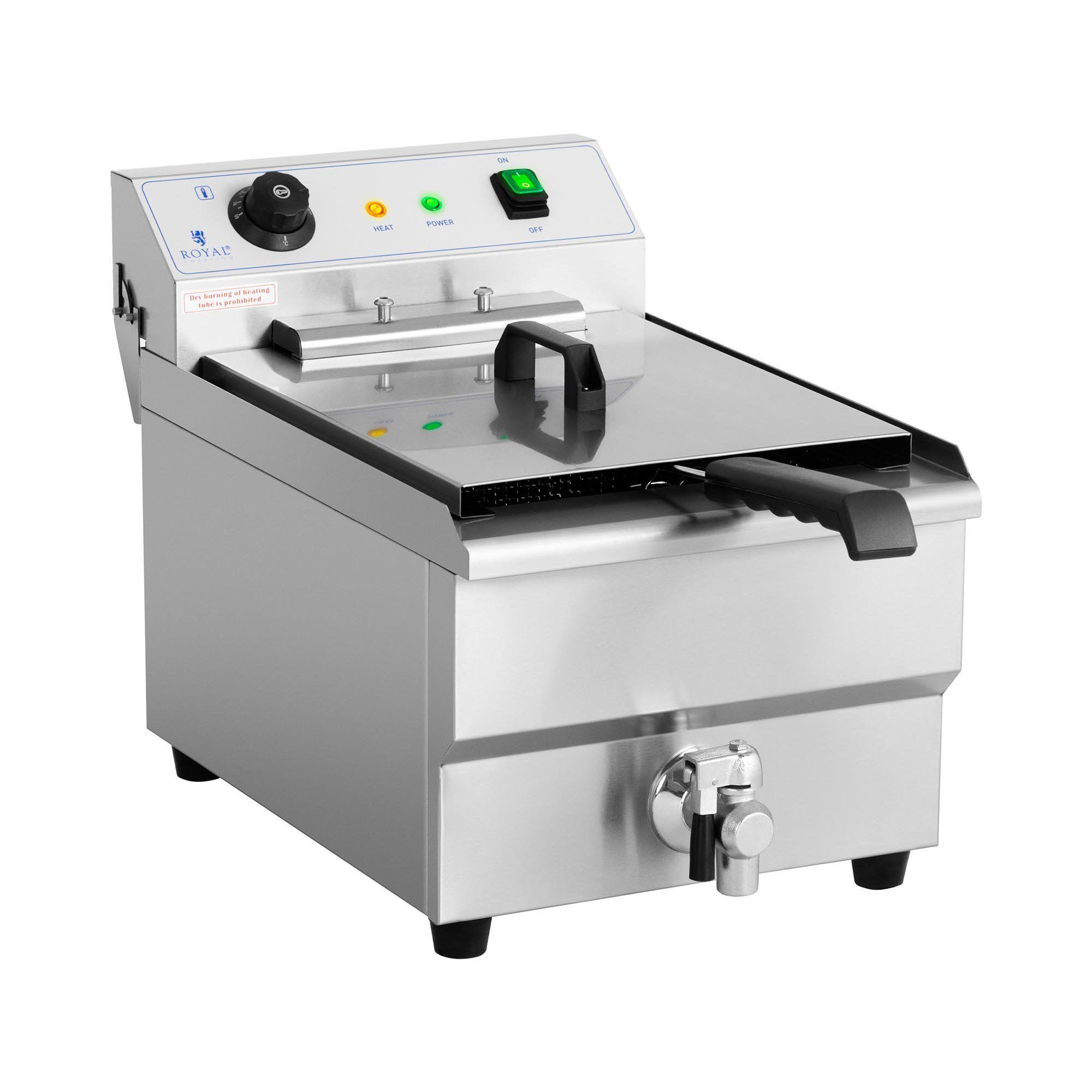 Royal Catering Friteuse électrique - 16 litres - 6 000 watts - Robinet de vidange - Zone froide RCEF-16EHB