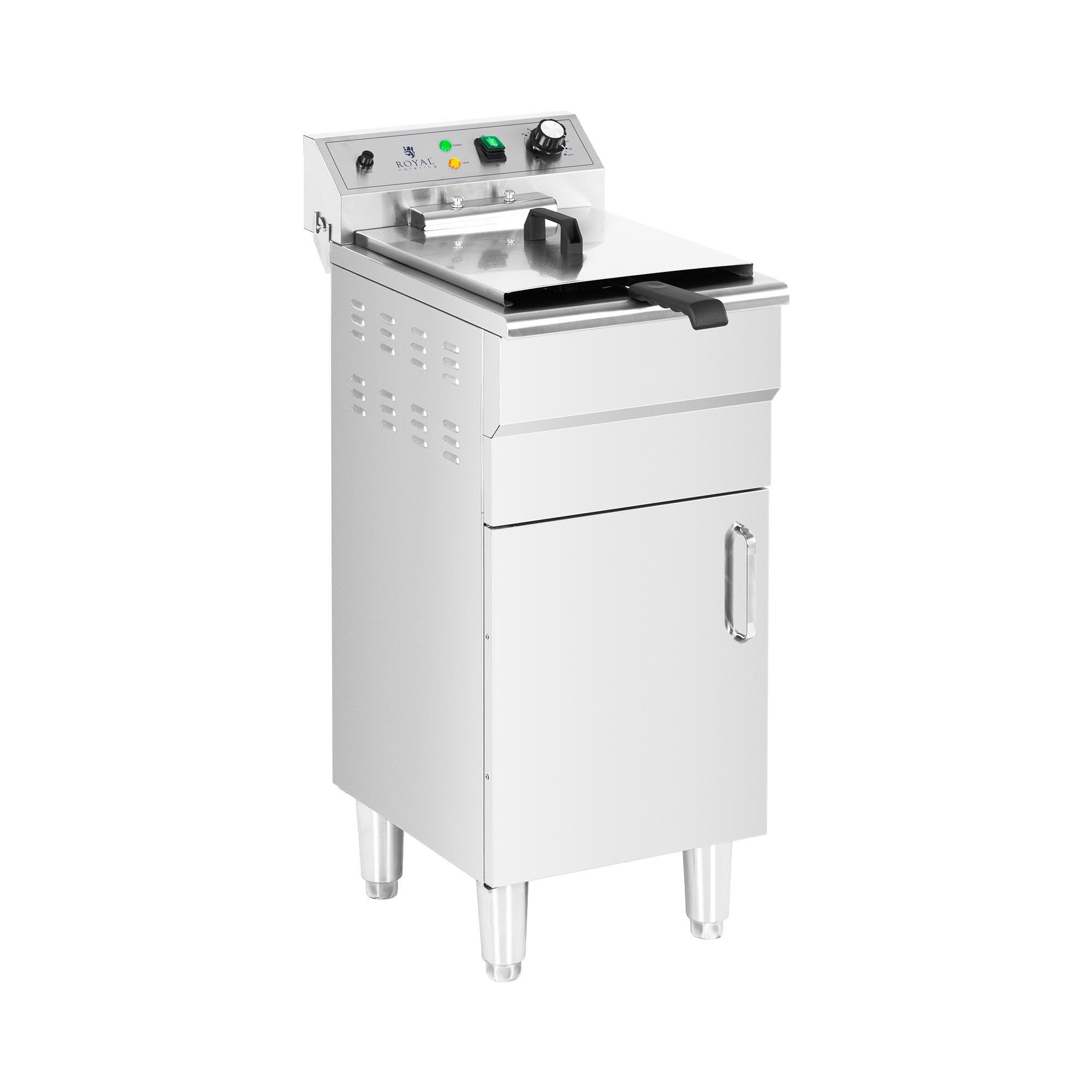 Royal Catering Friteuse électrique - 13 l - 5 000 W - Robinet de vidange - Zone froide - Sur armoire RCPKF 13DSH