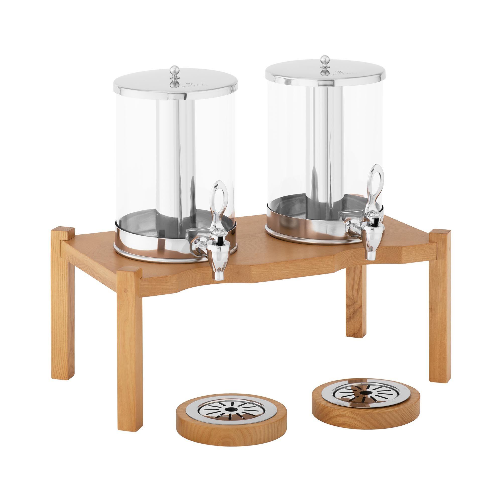 Royal Catering Distributeur de boissons - 2 x 7 l - Dispositifs de refroidissement - Cadre en bois RCSD-2W1