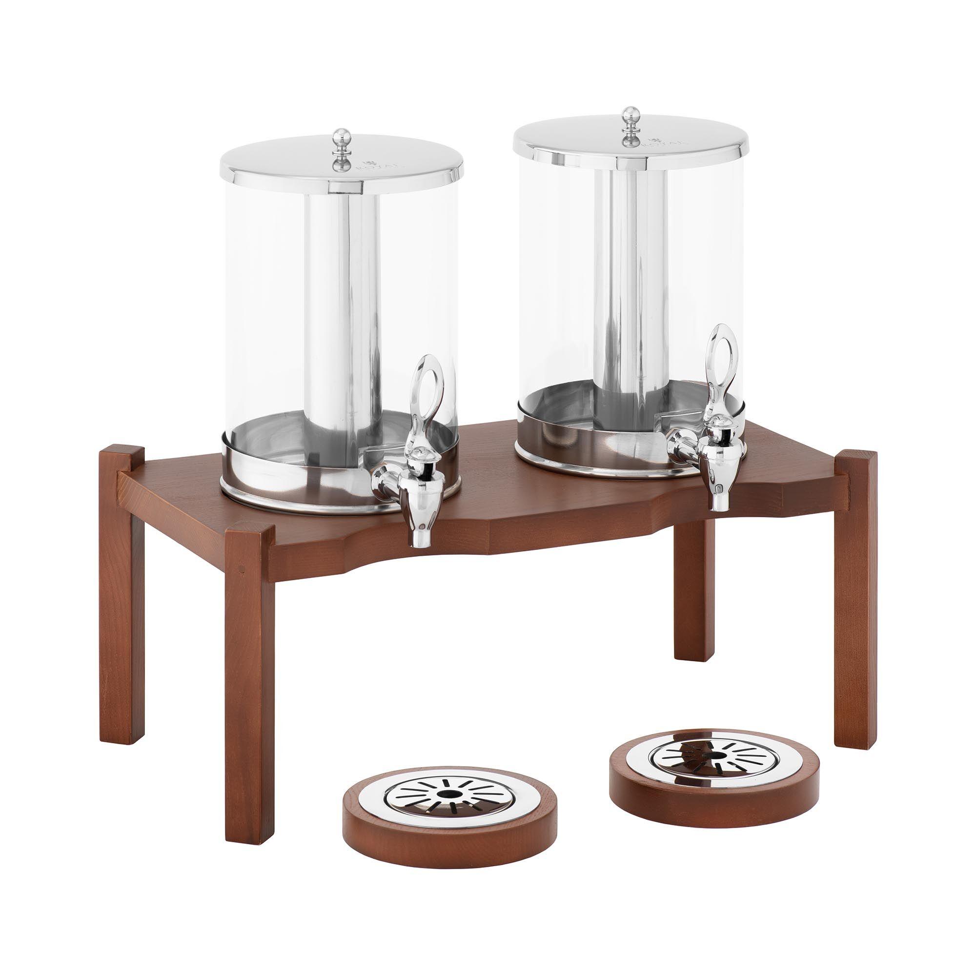 Royal Catering Distributeur de boissons - 2 x 7 l - Dispositifs de refroidissement - Cadre en bois foncé RCSD-2W3