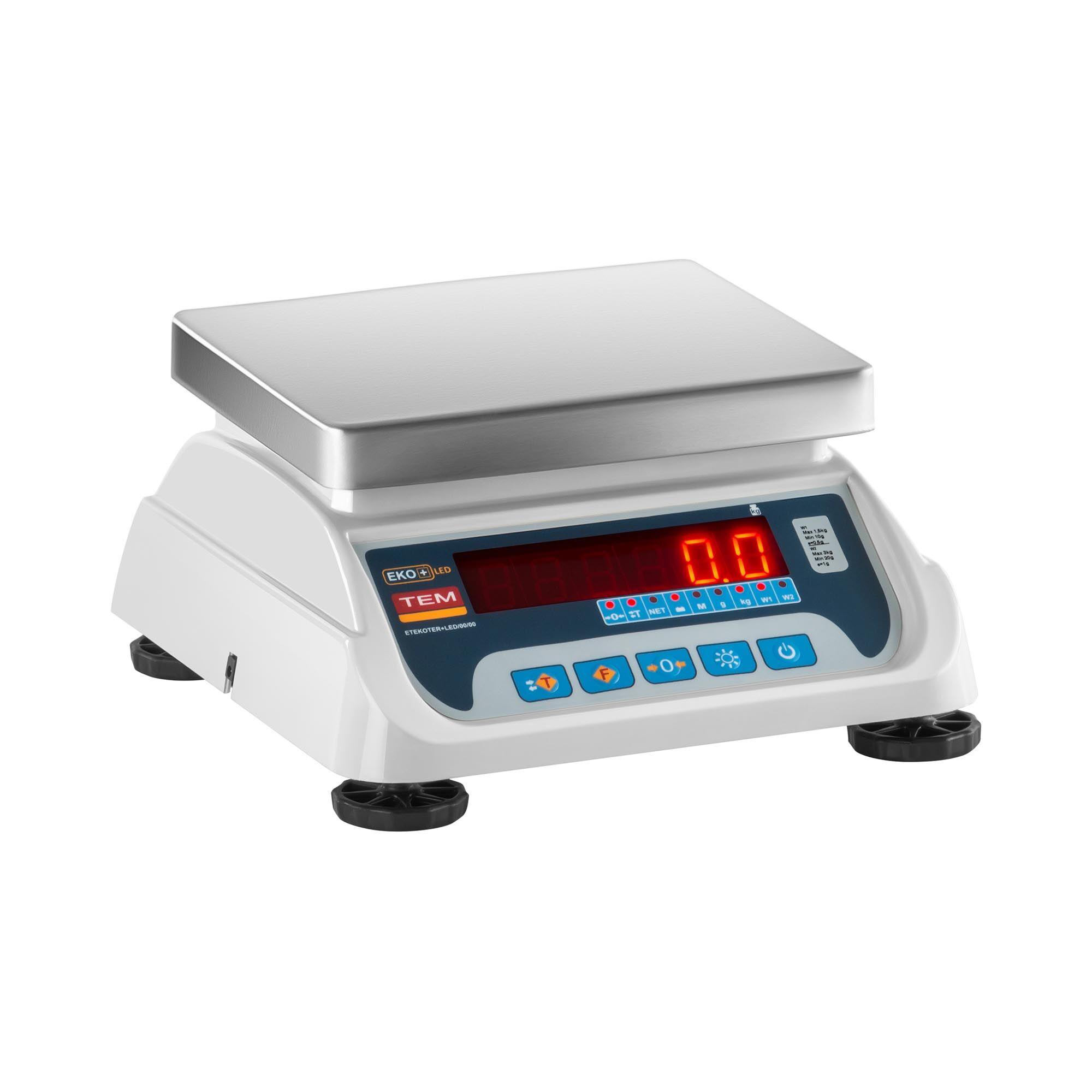 TEM Balance poids-prix - Calibrage certifié - 1,5 kg / 0,5 g - 3 kg / 1 g - LED TEKO+LED03T-PLS-B1