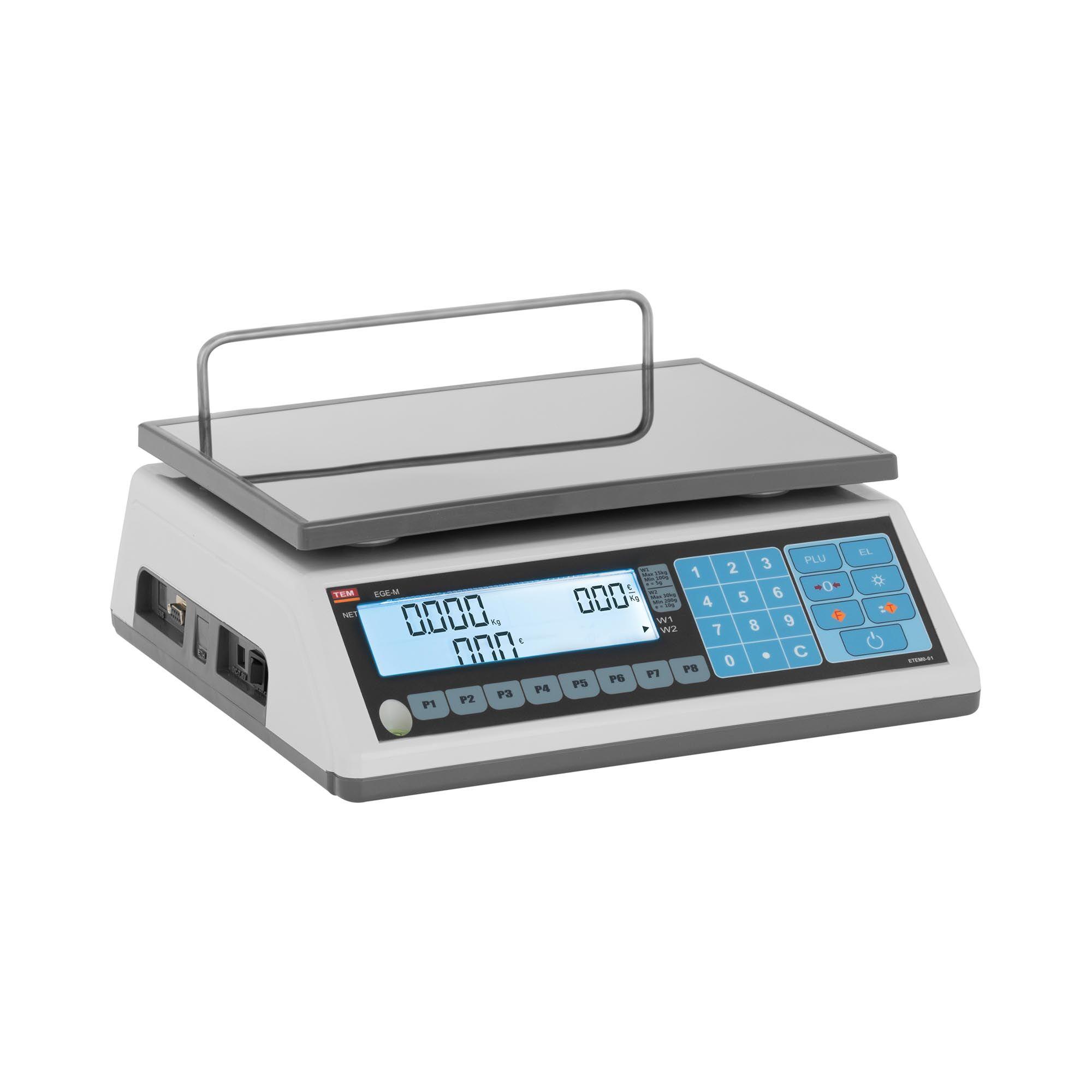 TEM Balance poids-prix - Calibrage certifié - 15 kg/5 g - 30 kg/10 g TEM030D-B1