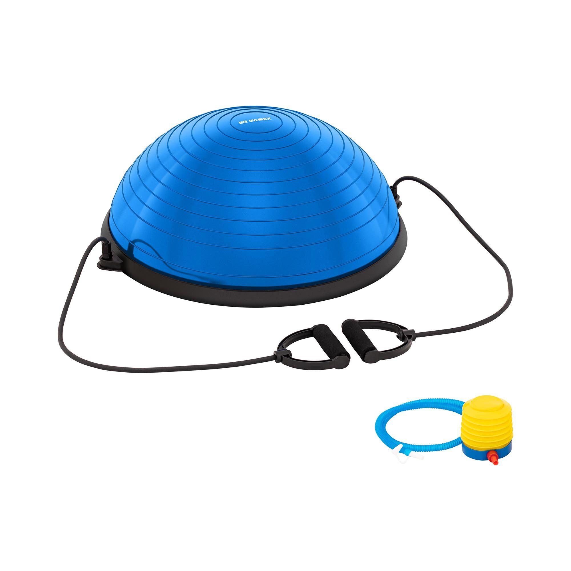 Gymrex Demi-ballon d'équilibre avec bandes élastiques - 220 kg - Bleu GR-BB 60