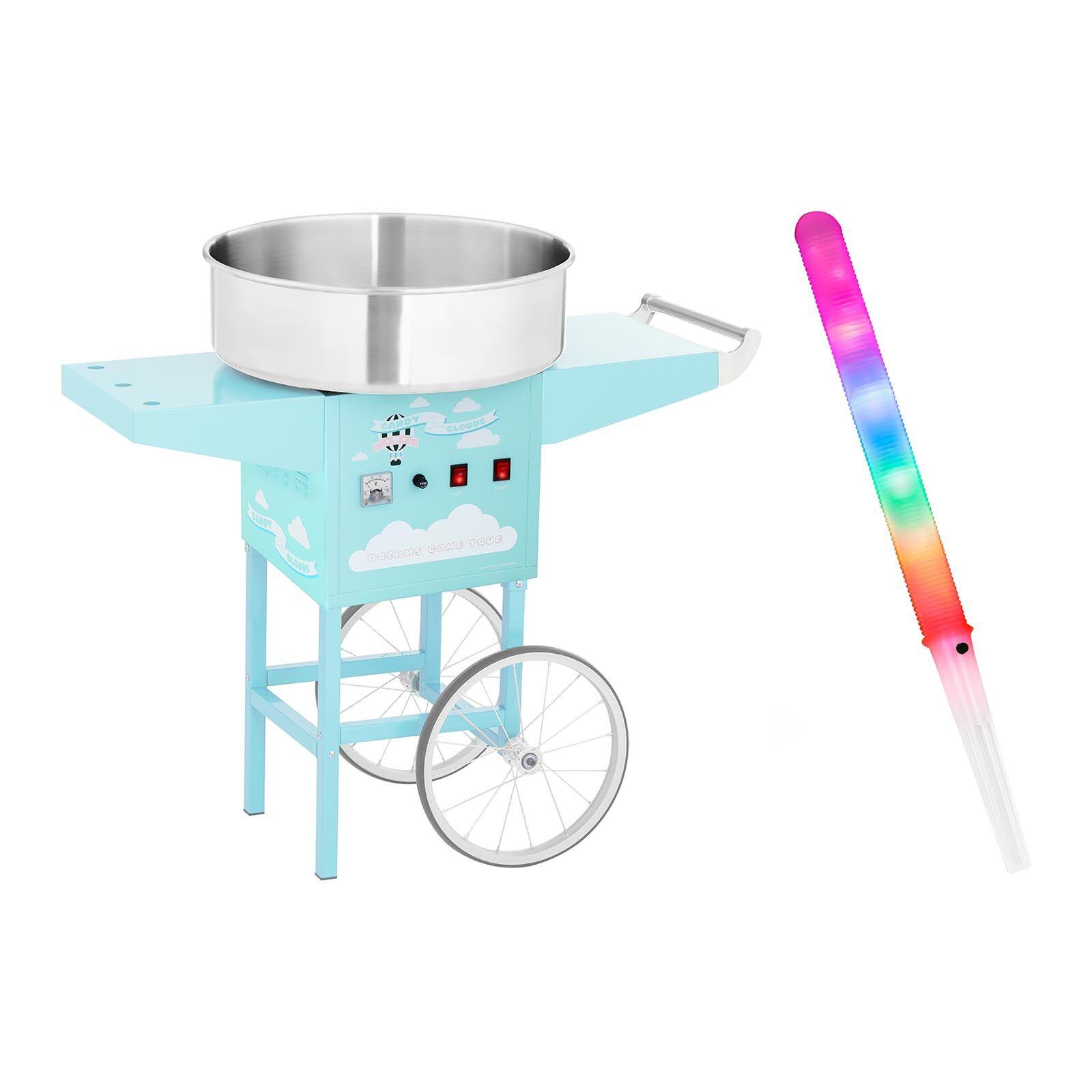 Royal Catering Kit machine barbe à papa avec chariot et bâtonnets lumineux - 52 cm - 1 200 W - Turquoise RCZK-1200-BG SET2