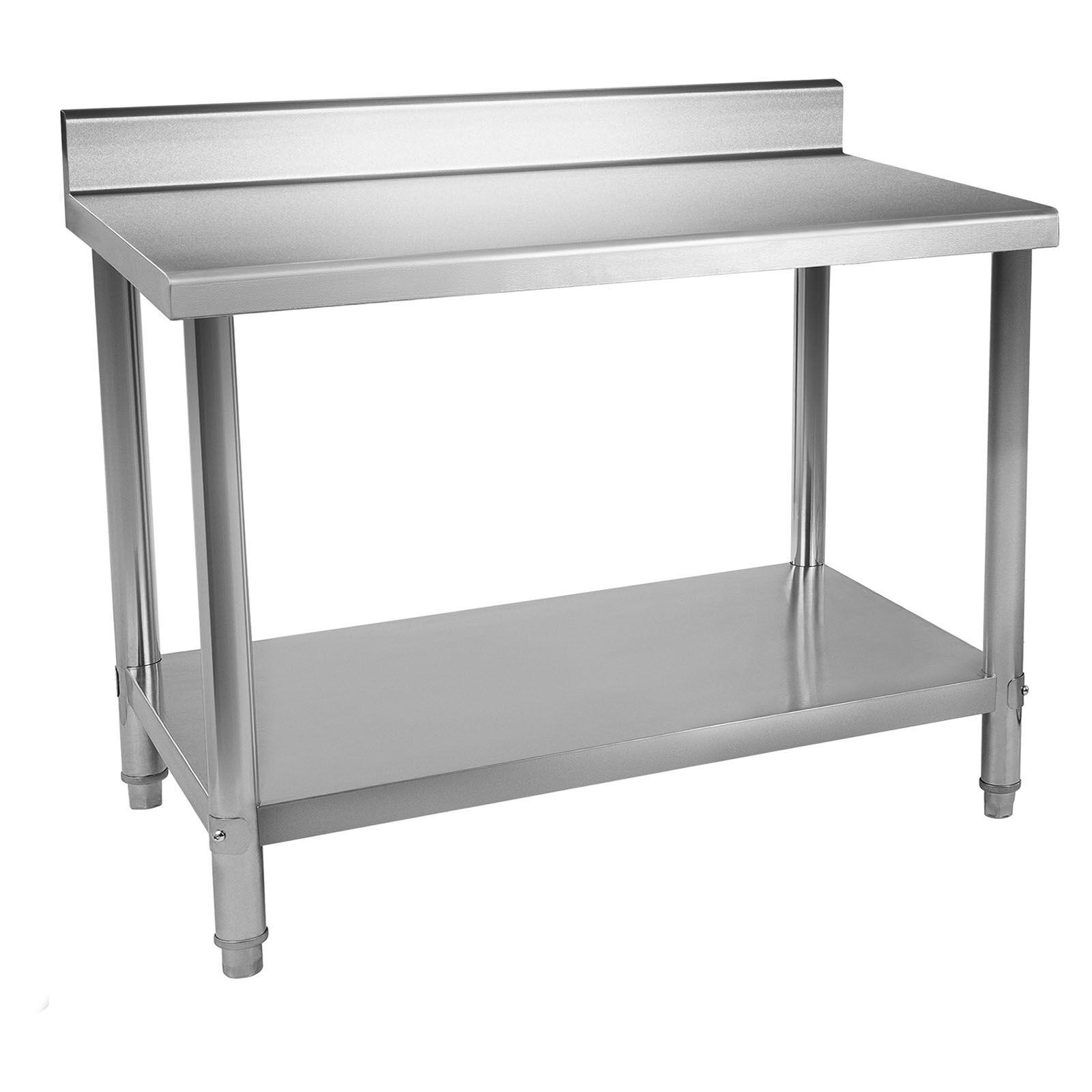 Royal Catering Table de travail en inox avec dosseret - 120 x 70 cm - Capacité de 143 kg