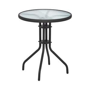 Uniprodo Table de jardin ronde - Noire - Plateau de verre - Ø 60 cm UNI_TABLE_01 - Publicité
