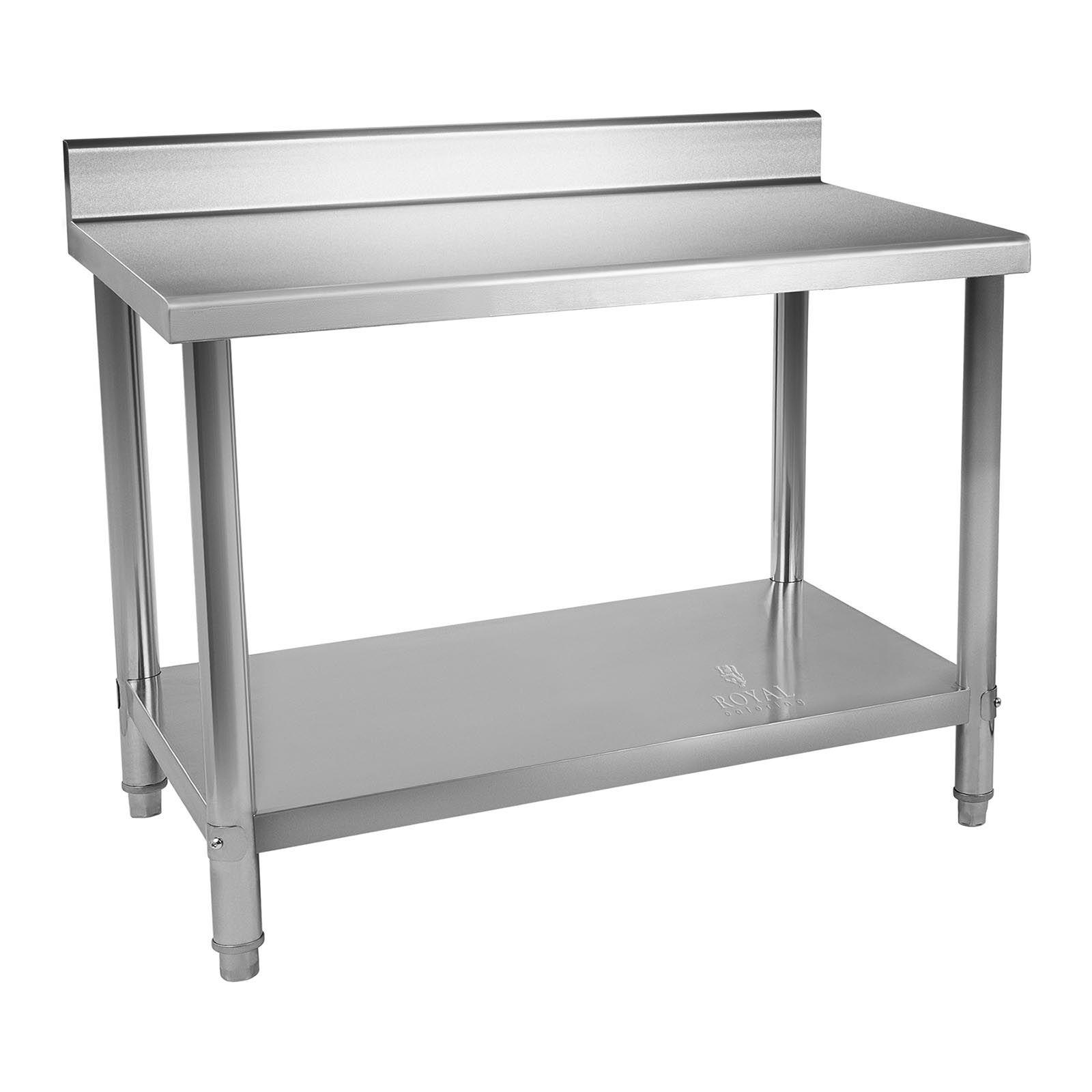 Royal Catering Table de travail en inox - 120 x 60 cm - Capacité de 110 kg - Avec dosseret