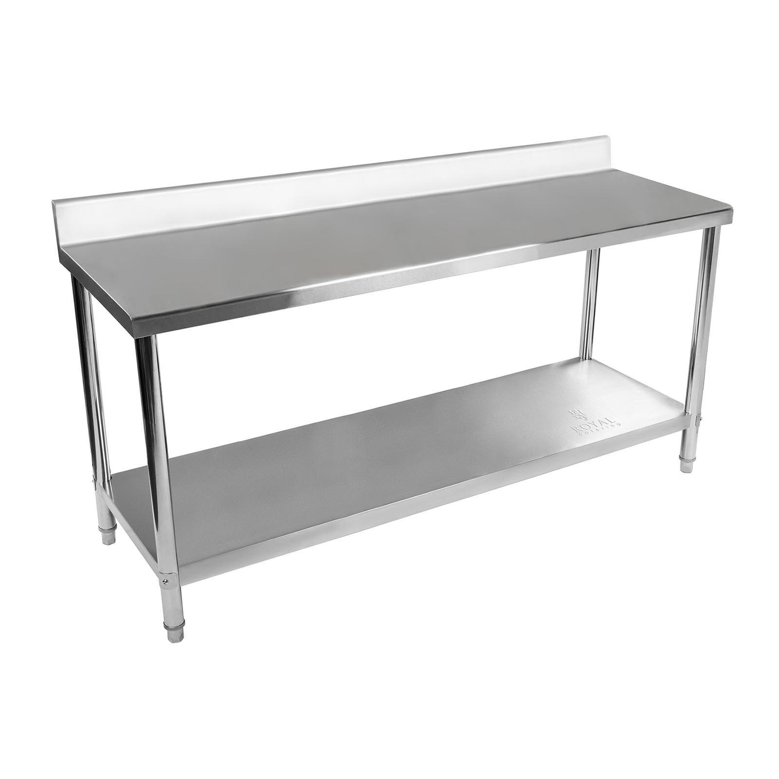 Royal Catering Table de travail en inox avec dosseret - 180 x 60 cm - Capacité de 170 kg