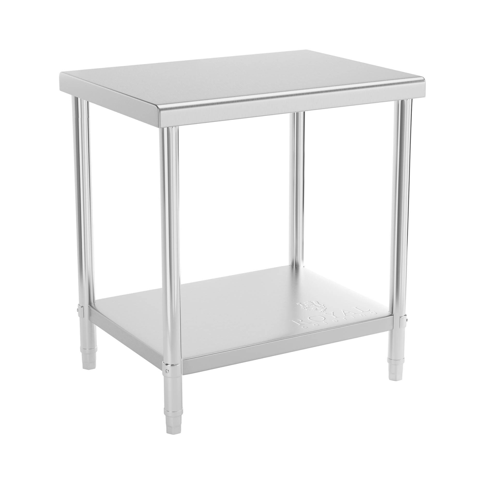 Royal Catering Table de travail en inox - 80 x 60 cm - Capacité de charge de 190 kg RCAT-80/60-NW