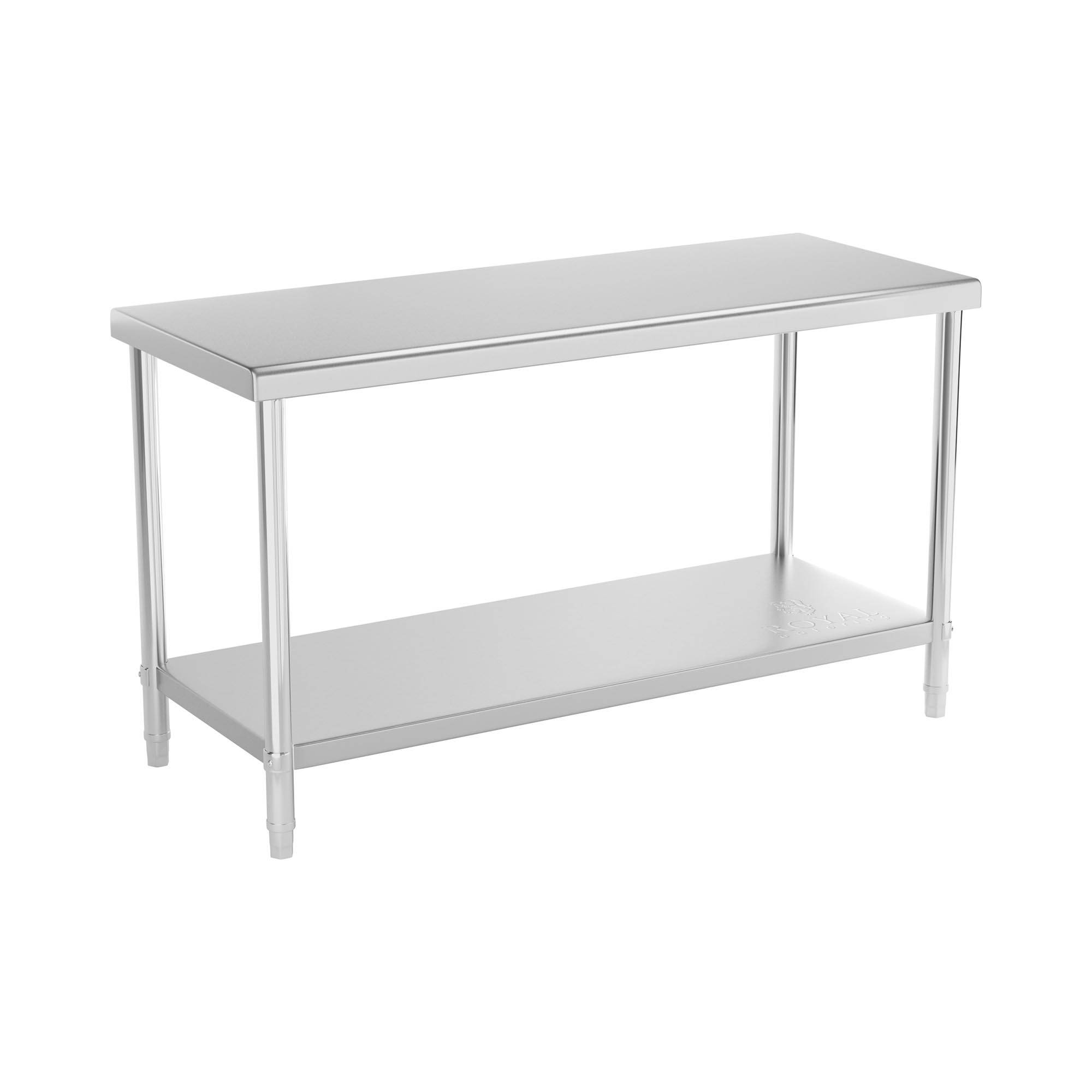 Royal Catering Table de travail en inox - 150 x 60 cm - Capacité de charge de 230 kg RCAT-150/60-NW