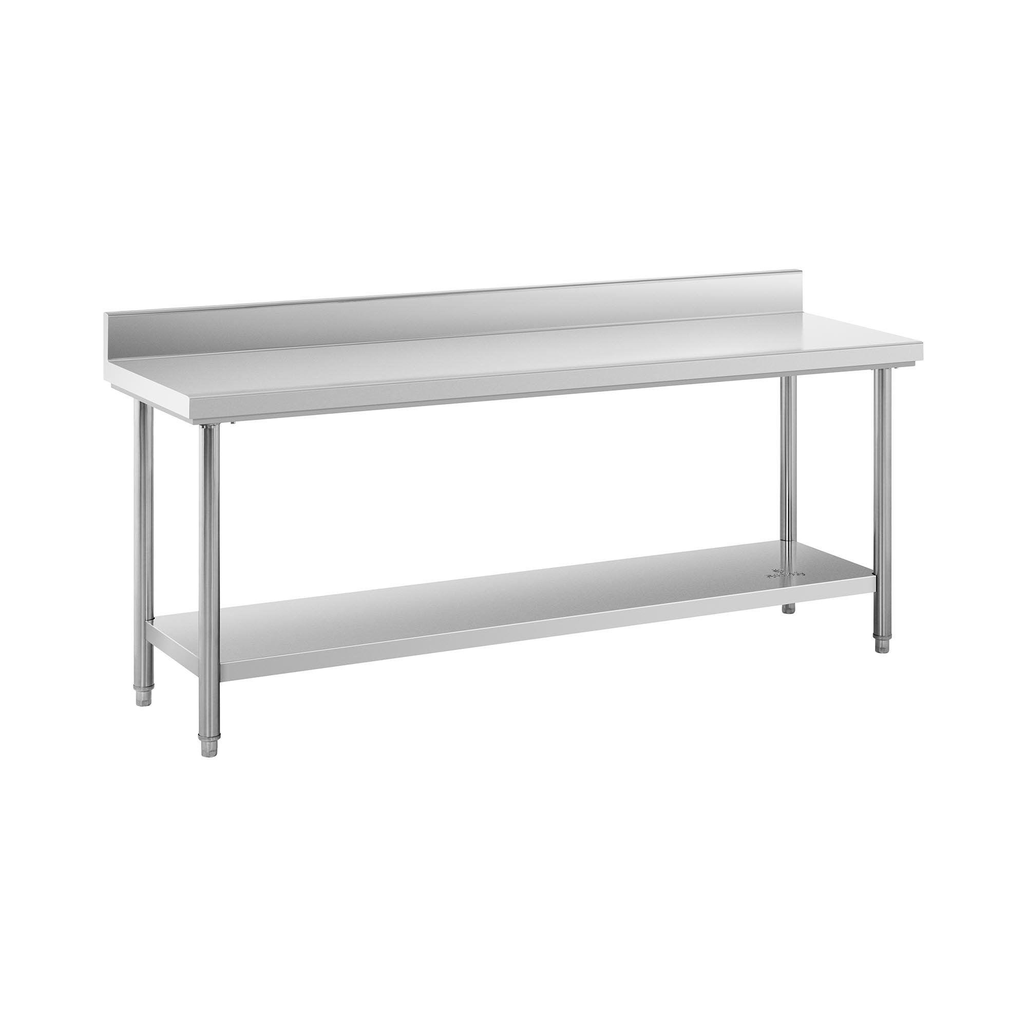 Royal Catering Table de travail inox avec dosseret - 200 x 60 cm - Capacité de 195 kg RCWT-200X60SB