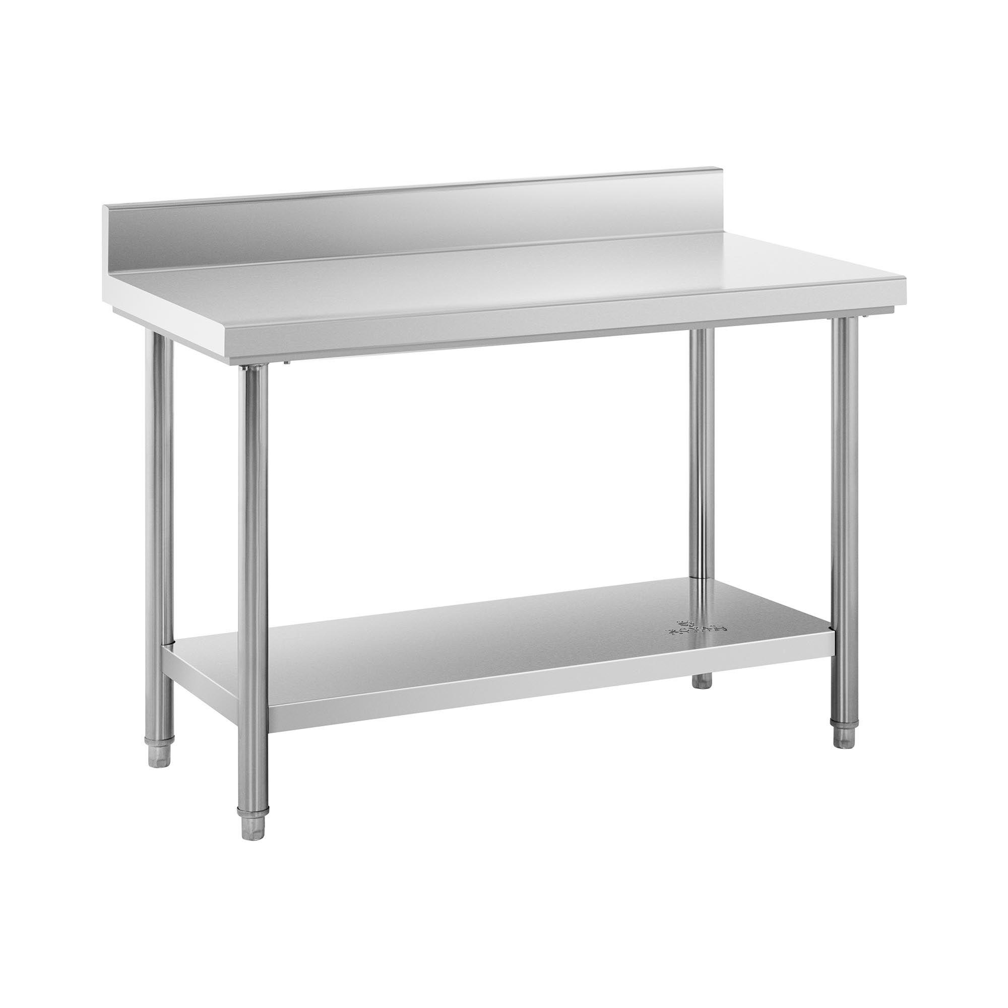 Royal Catering Table de travail inox avec dosseret - 120 x 60 cm - Capacité de 110 kg