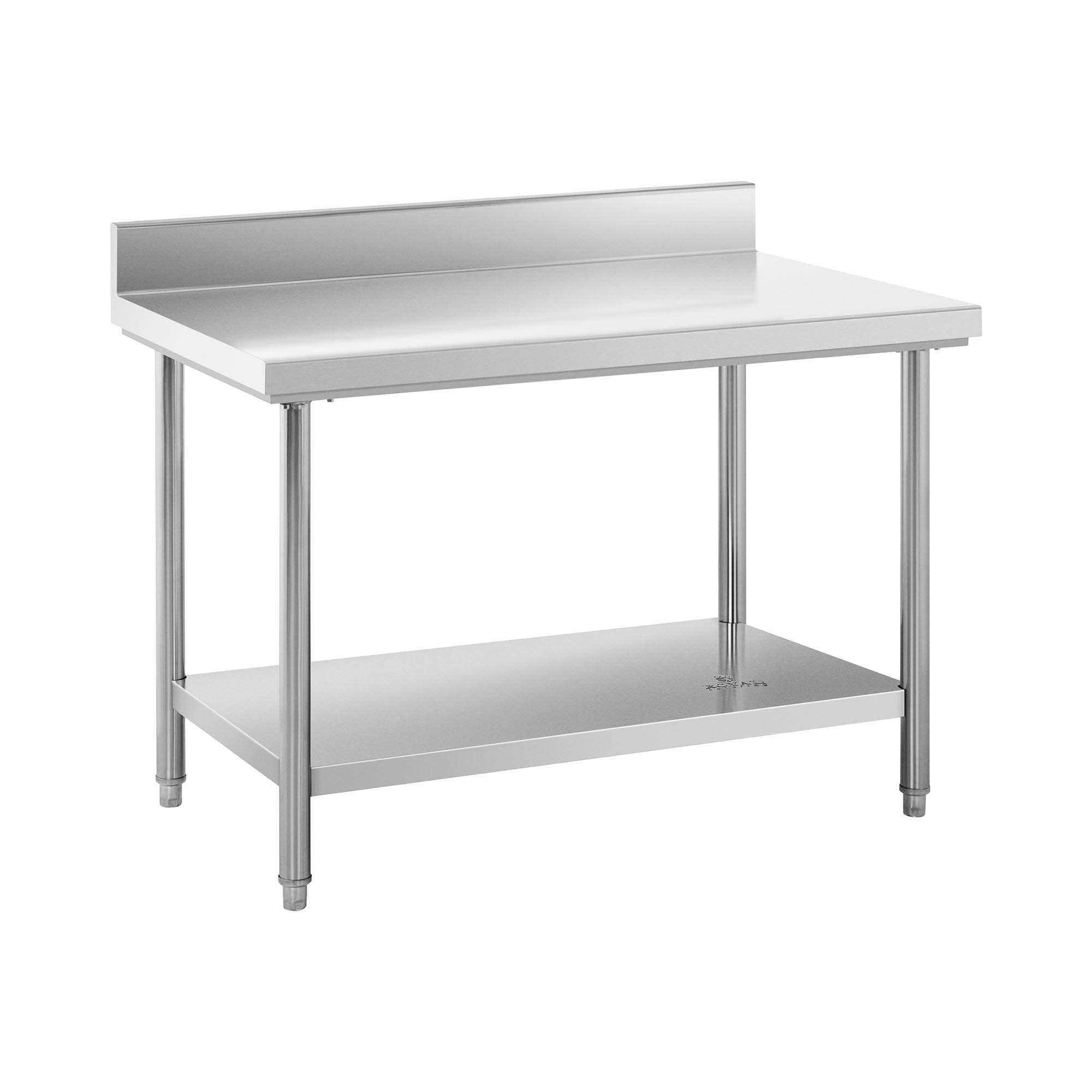 Royal Catering Table de travail inox avec dosseret - 120 x 70 cm - Capacité de 143 kg