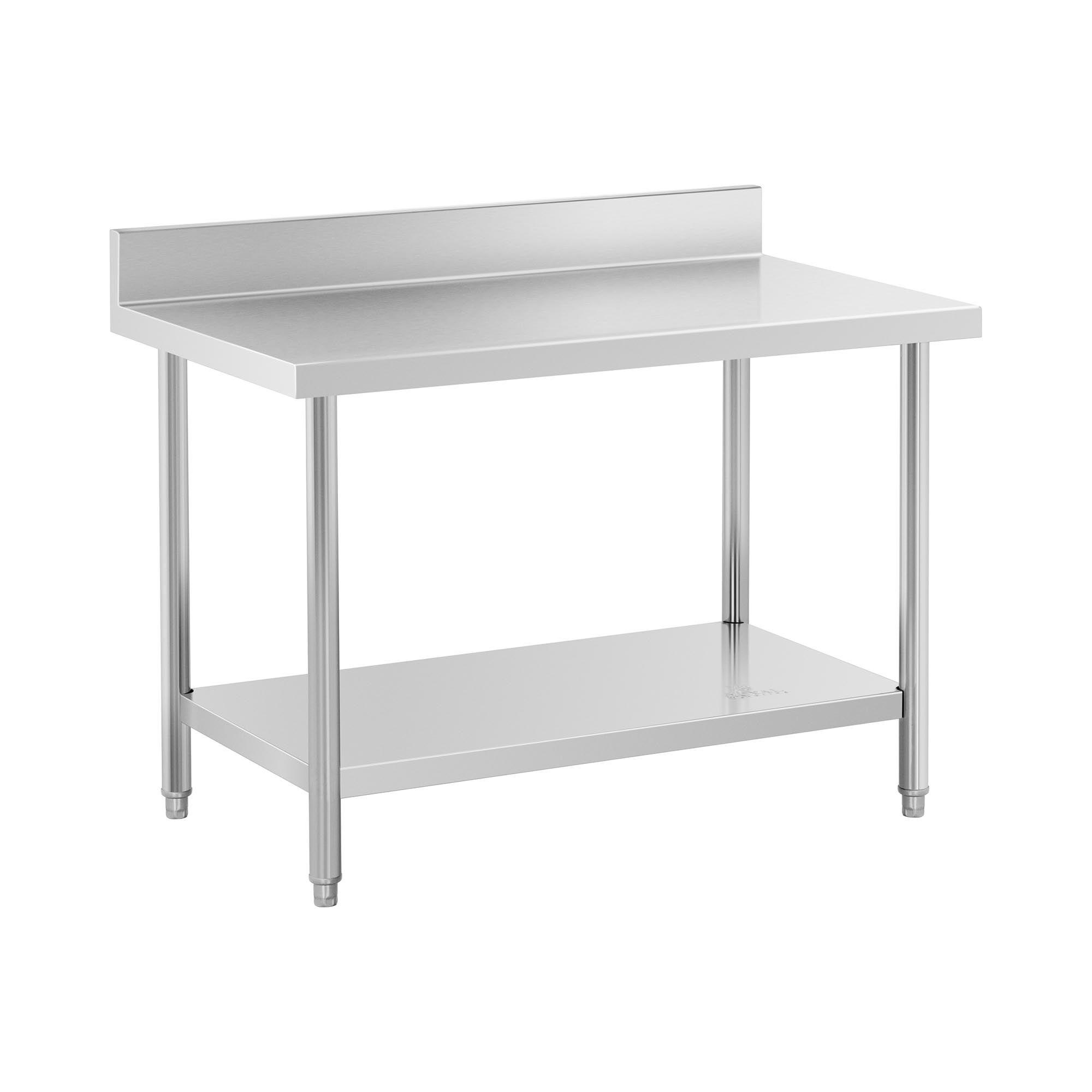 Royal Catering Table de travail inox avec dosseret - 120 x 70 cm - Capacité de 115 kg