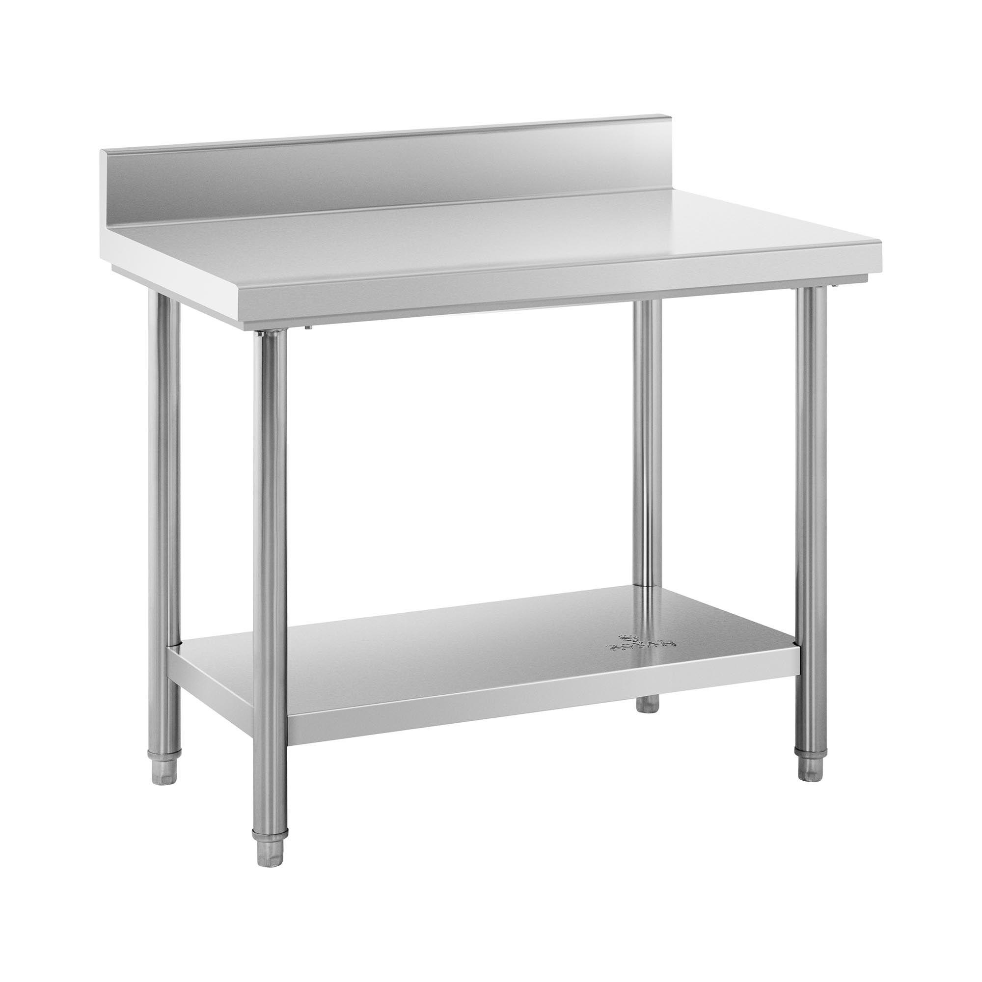 Royal Catering Table de travail inox avec dosseret - 100 x 60 cm - Capacité de 114 kg
