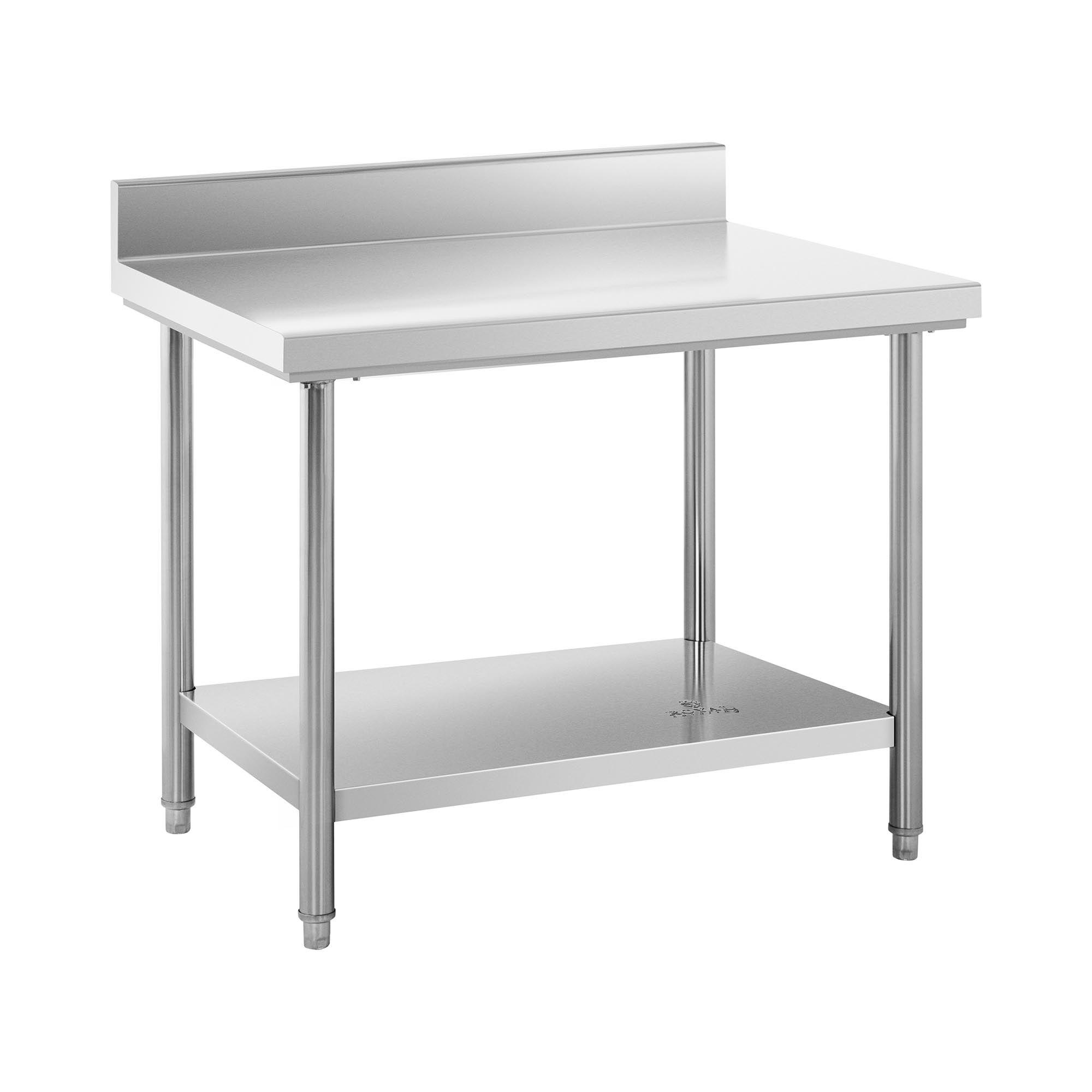 Royal Catering Table de travail inox avec dosseret - 100 x 70 cm - Capacité de 95 kg