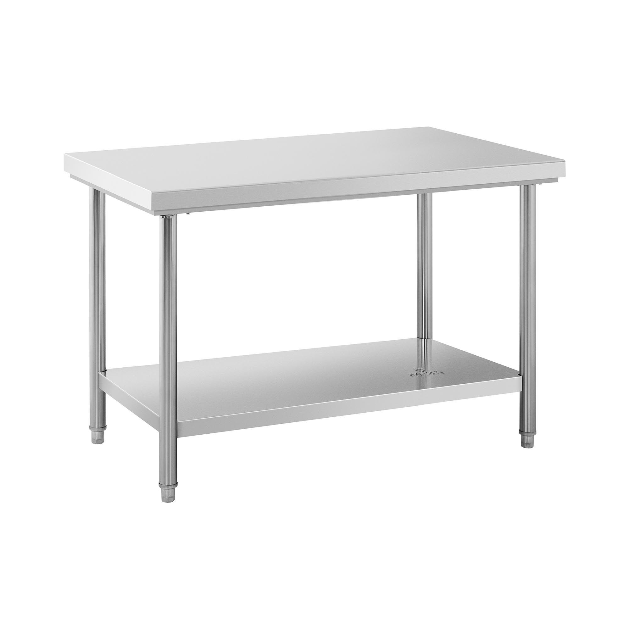 Royal Catering Table de travail inox - 120 x 70 cm - Capacité de 143 kg RCWT-120X70S