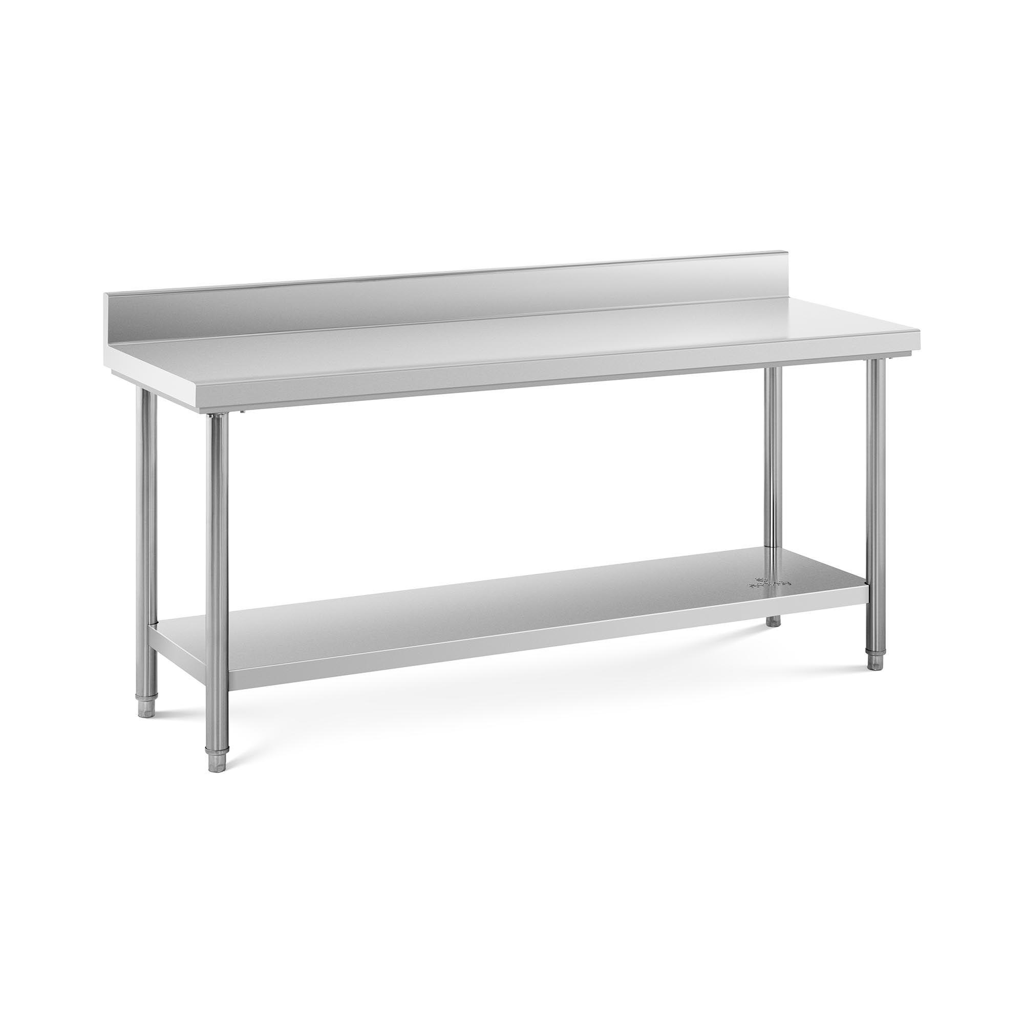 Royal Catering Table de travail inox avec dosseret - 180 x 60 cm - Capacité de 182 kg