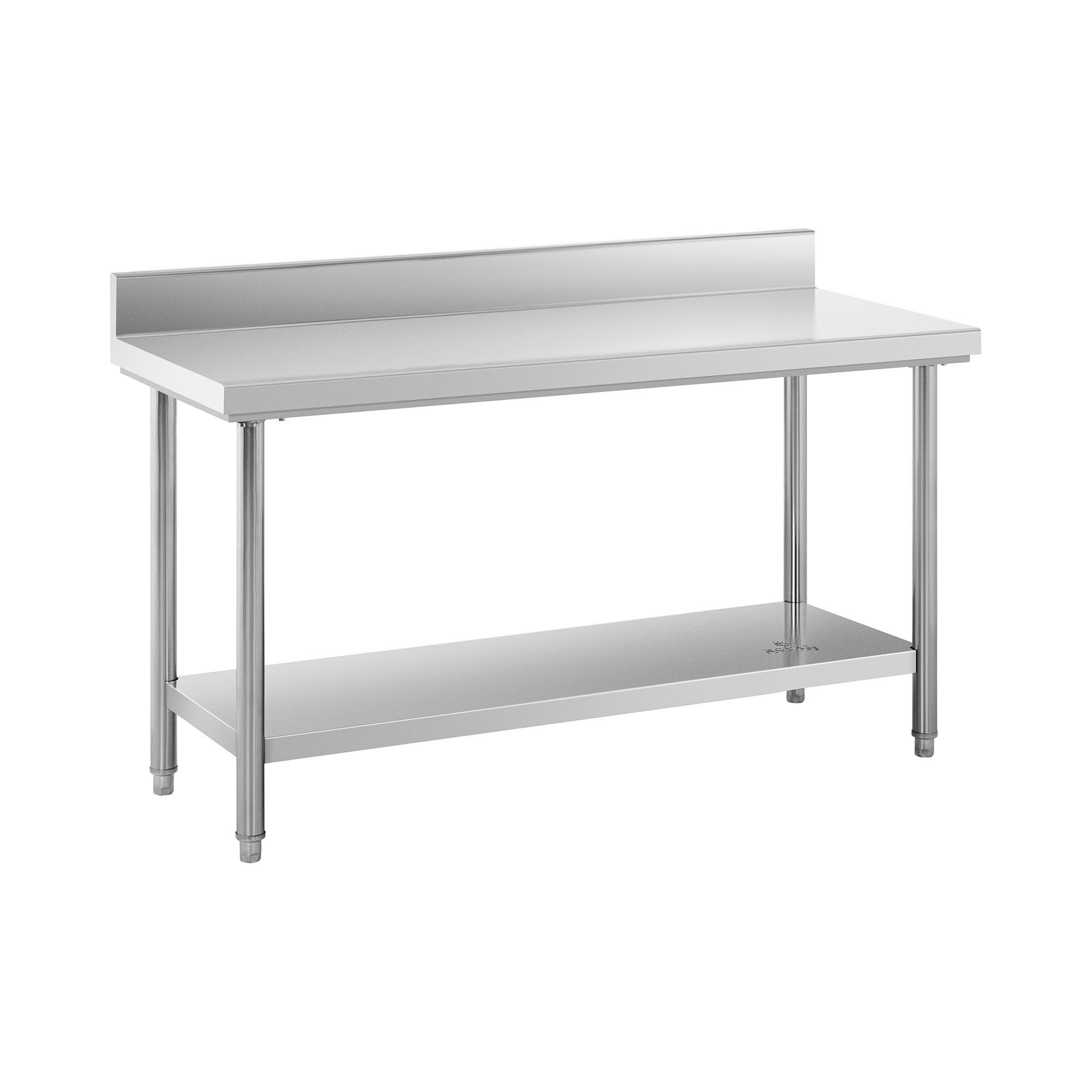 Royal Catering Table de travail inox avec dosseret - 150 x 60 cm - Capacité de 159 kg