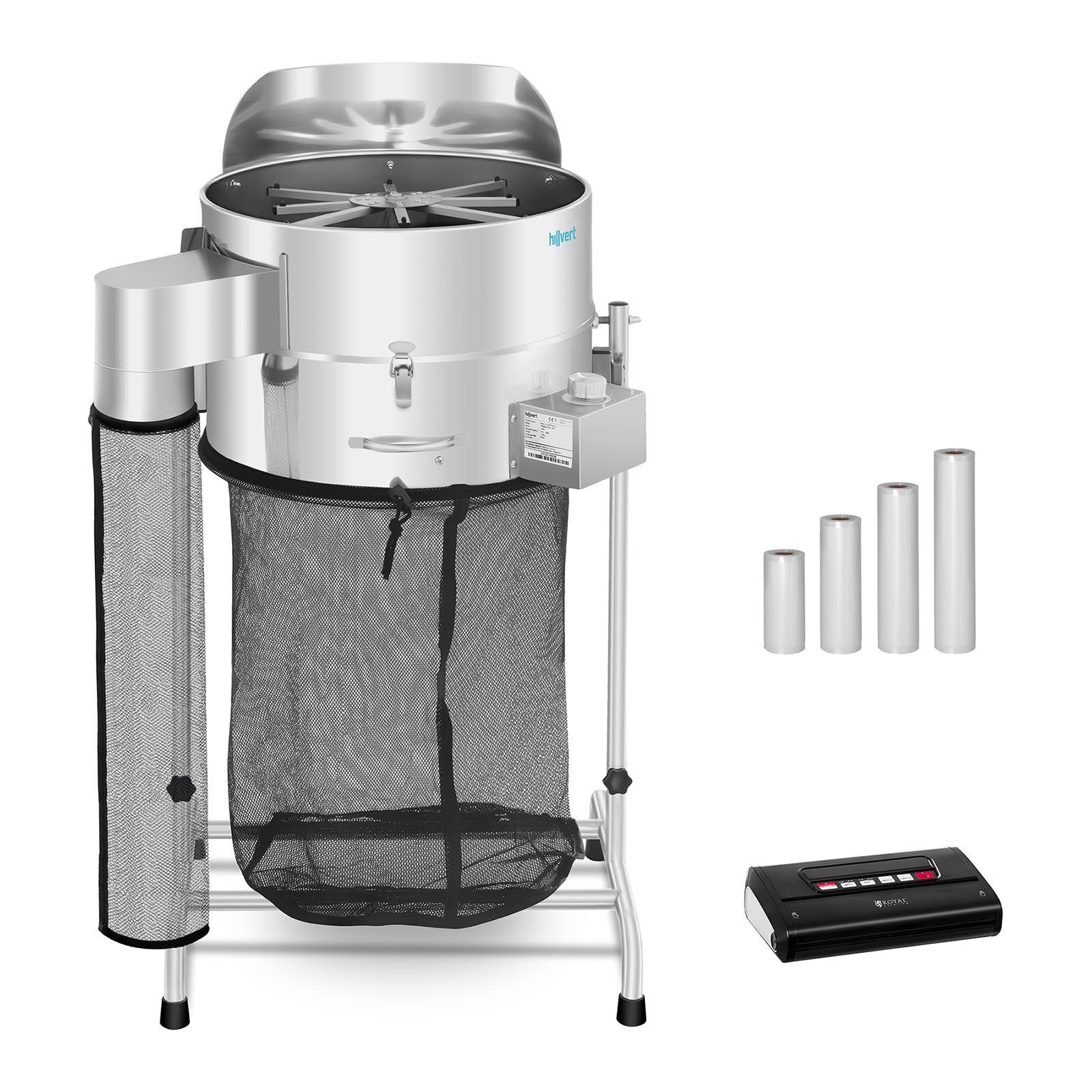 hillvert Machine à manucurer électrique - Set - Ø 42 cm - Machine sous vide alimentaire avec sachets - Balance de table HT-HOWSON-18TE Leaf Trimmer Set 3