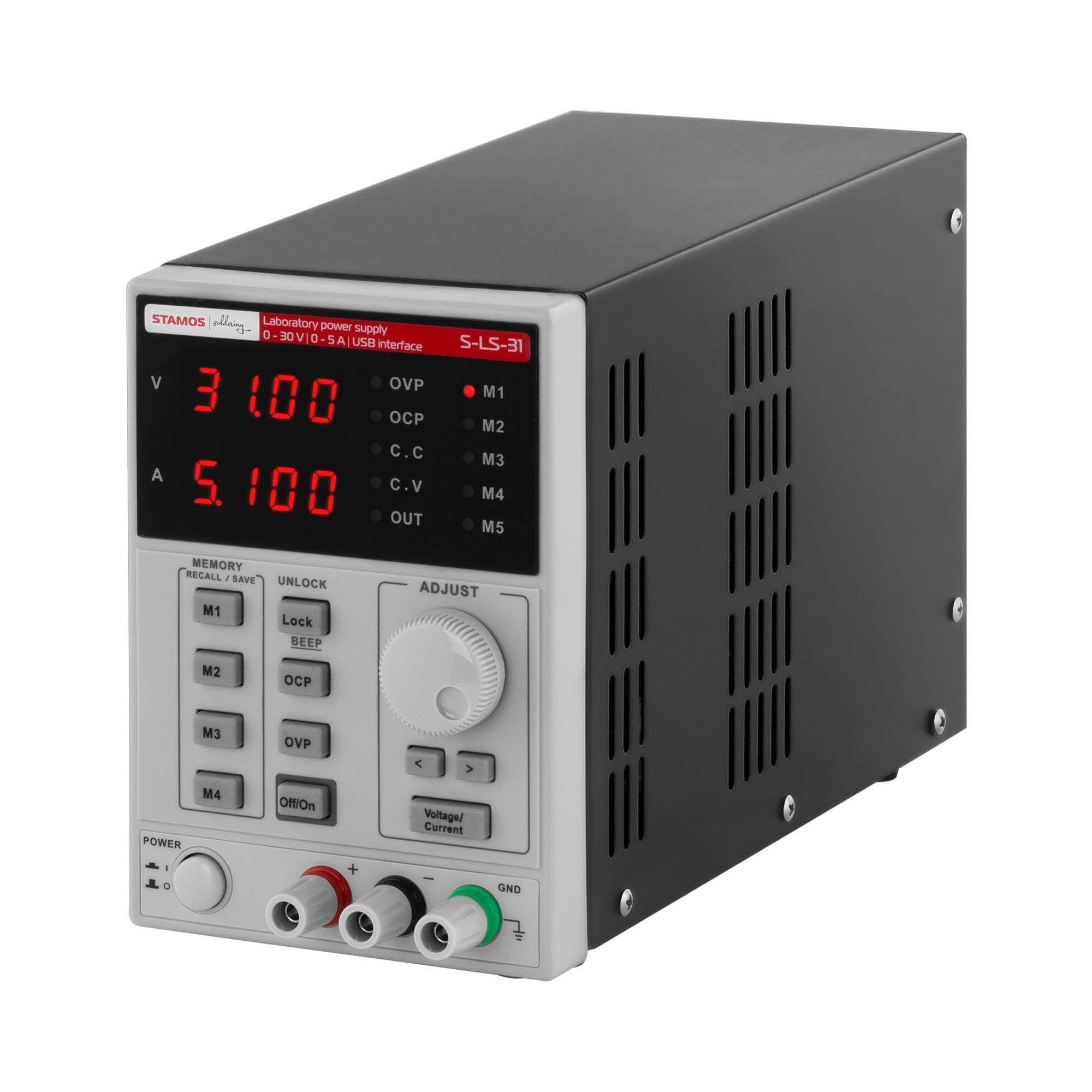 Stamos Soldering Alimentation de laboratoire - 0-30 V, 0-5 A CC, 250 W - USB - 4 espaces de sauvegarde S-LS-31