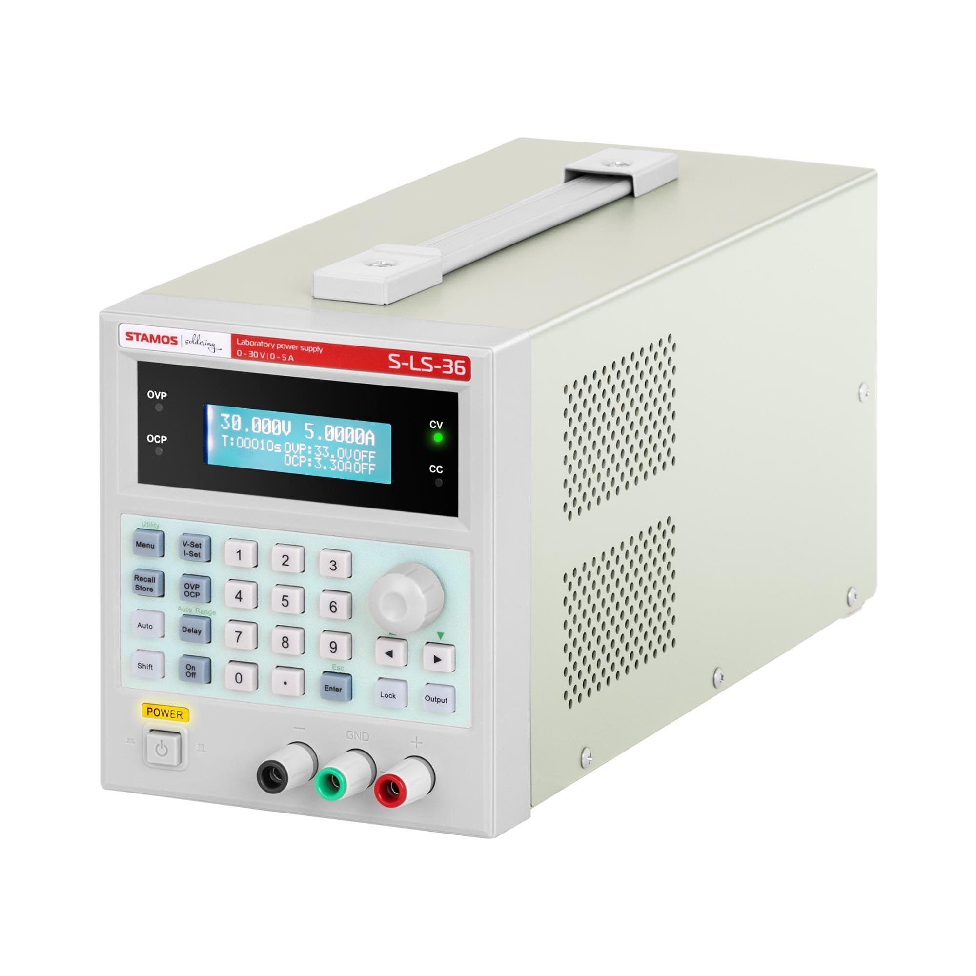 Stamos Soldering Alimentation de laboratoire - 0-30 V - 0-5 A CC - 150 W - USB - 100 espaces de sauvegarde S-LS-36