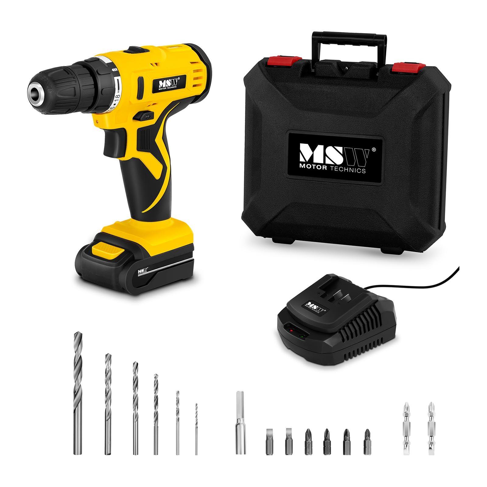 MSW Perceuse-visseuse sans fil - 1 500 tr/min - 30 Nm - 1 batterie incluse dans le kit MSW-CDR10VL