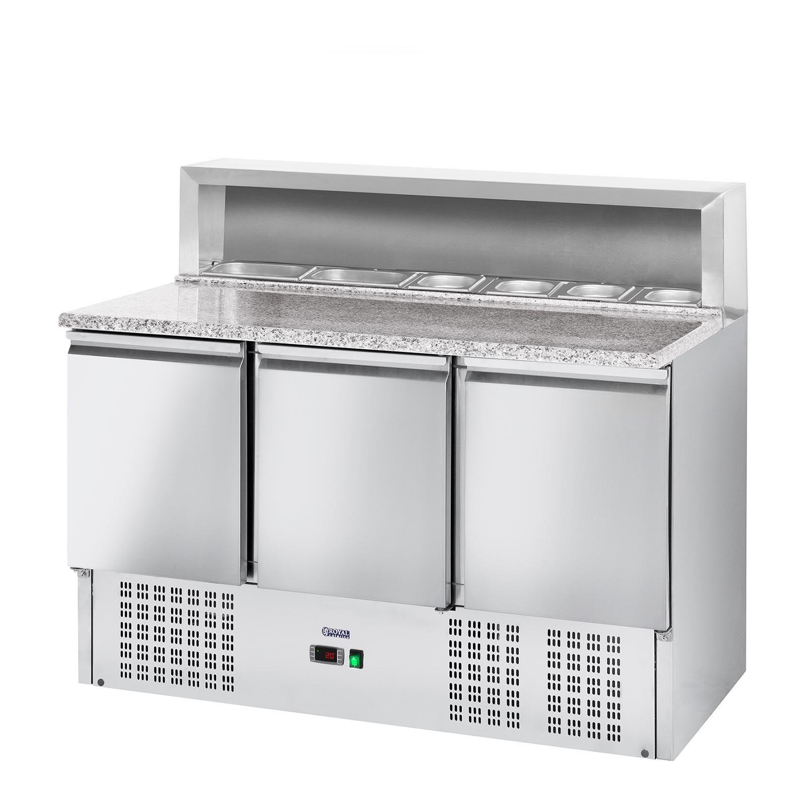 Royal Catering Table à pizza réfrigérée - 379 L - plan de travail en granite - 3 portes RCKT-136/70-6