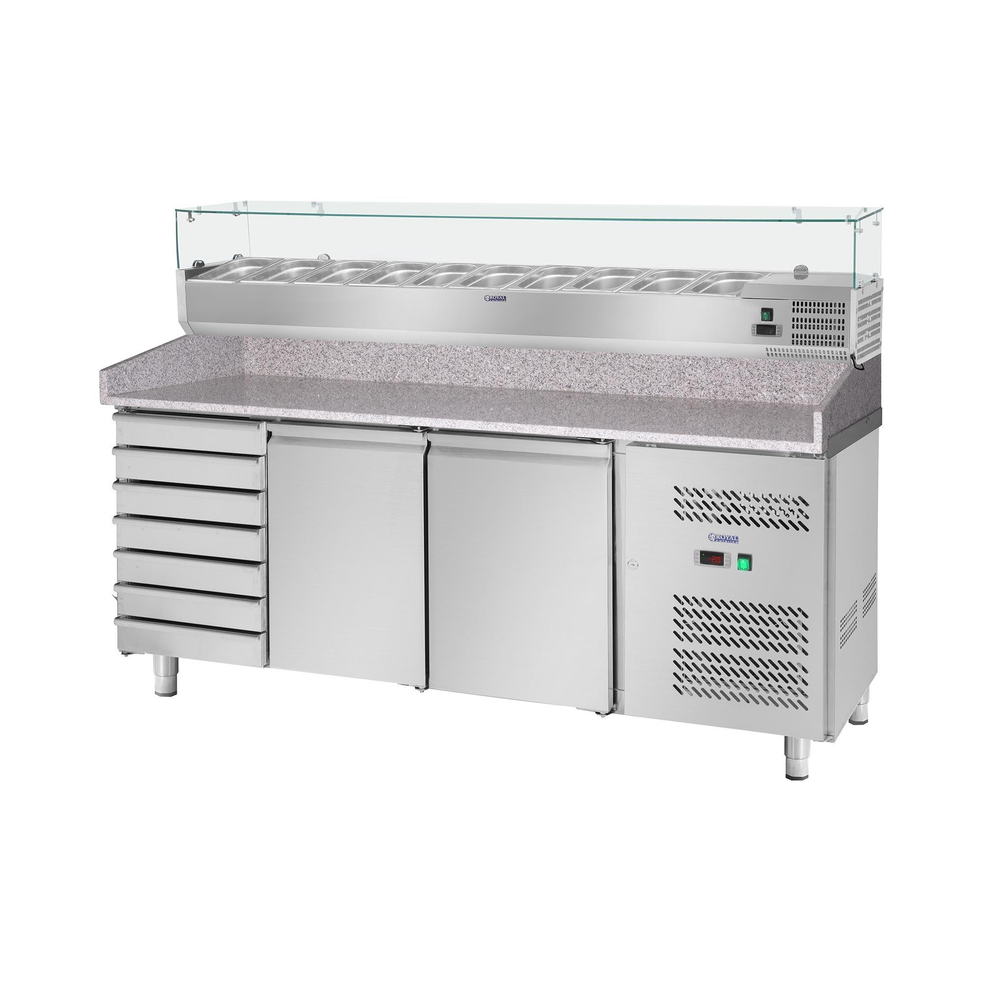 Royal Catering Table à pizza réfrigérée avec vitrine réfrigérée - 702 L - Surface de travail en granit - 2 portes RCKT-202/80-9