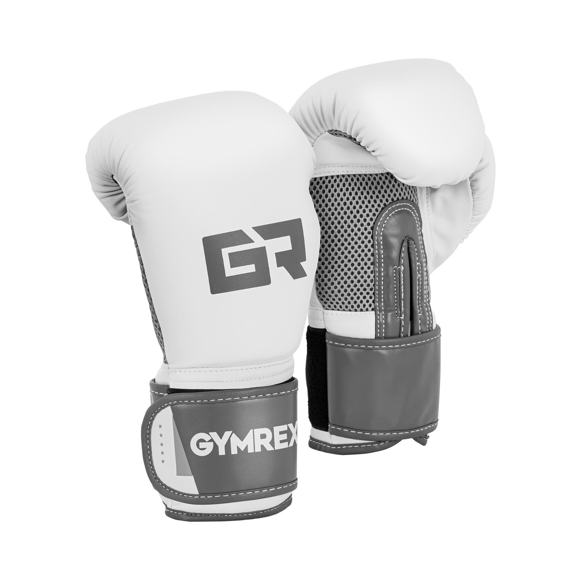 Gymrex Gants de boxe - 10 oz - Paume Mesh - Blancs et gris pâle, fini métallique GR-BG 10B
