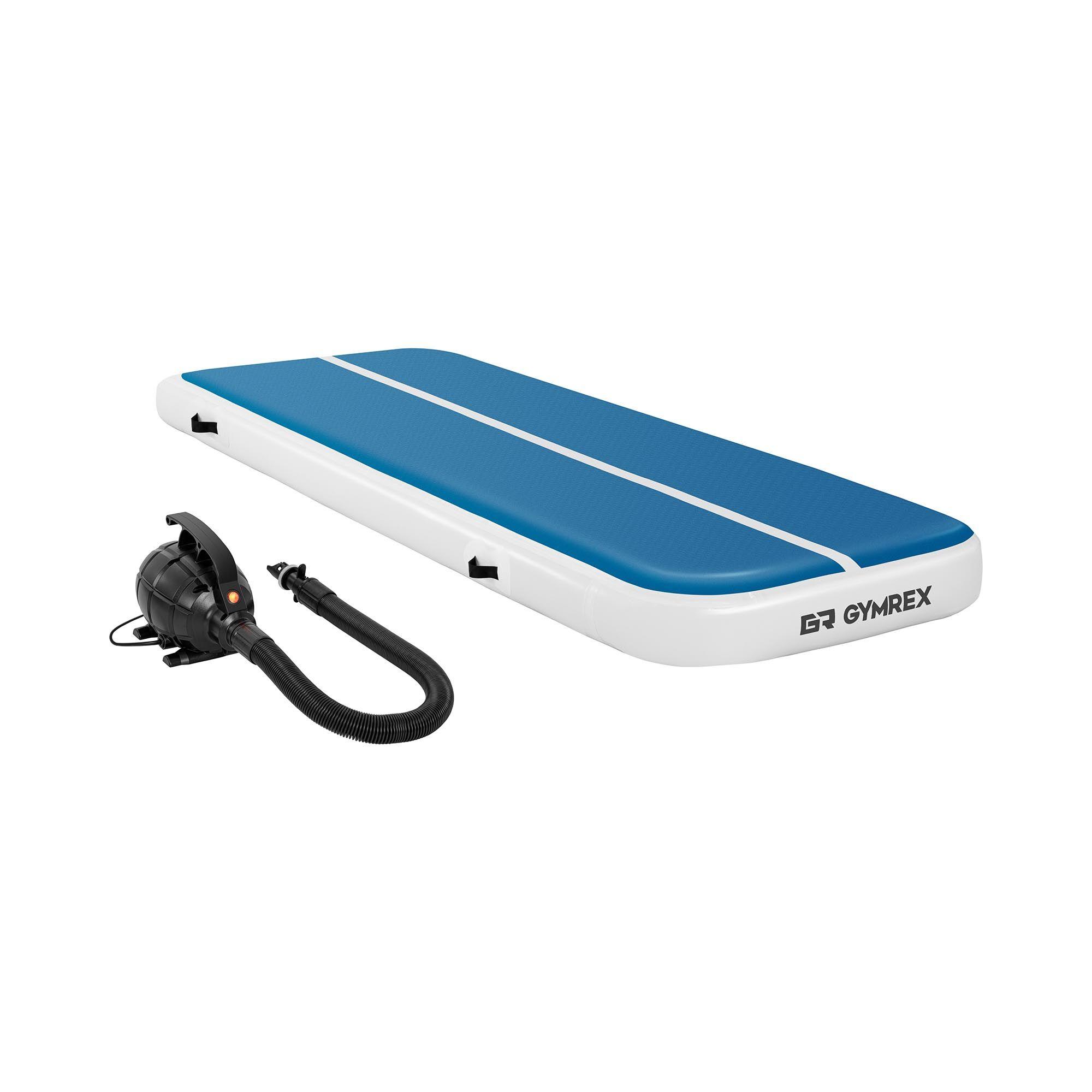 Gymrex Air track - Aitrack avec gonfleur électrique - Airtrack - 300 x 100 x 20 cm - 150 kg - Bleu/blanc GR-ATM4-SET