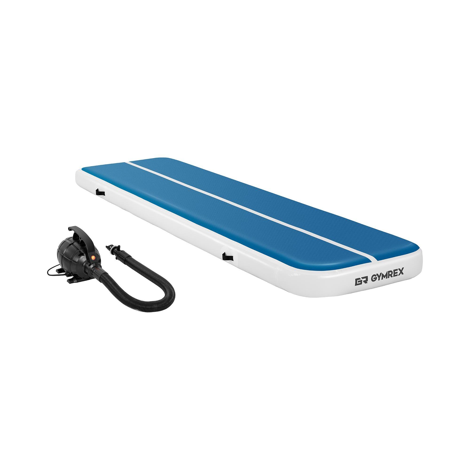 Gymrex Air track - Aitrack avec gonfleur électrique - Airtrack - 400 x 100 x 20 cm - 200 kg - Bleu/blanc GR-ATM5-SET
