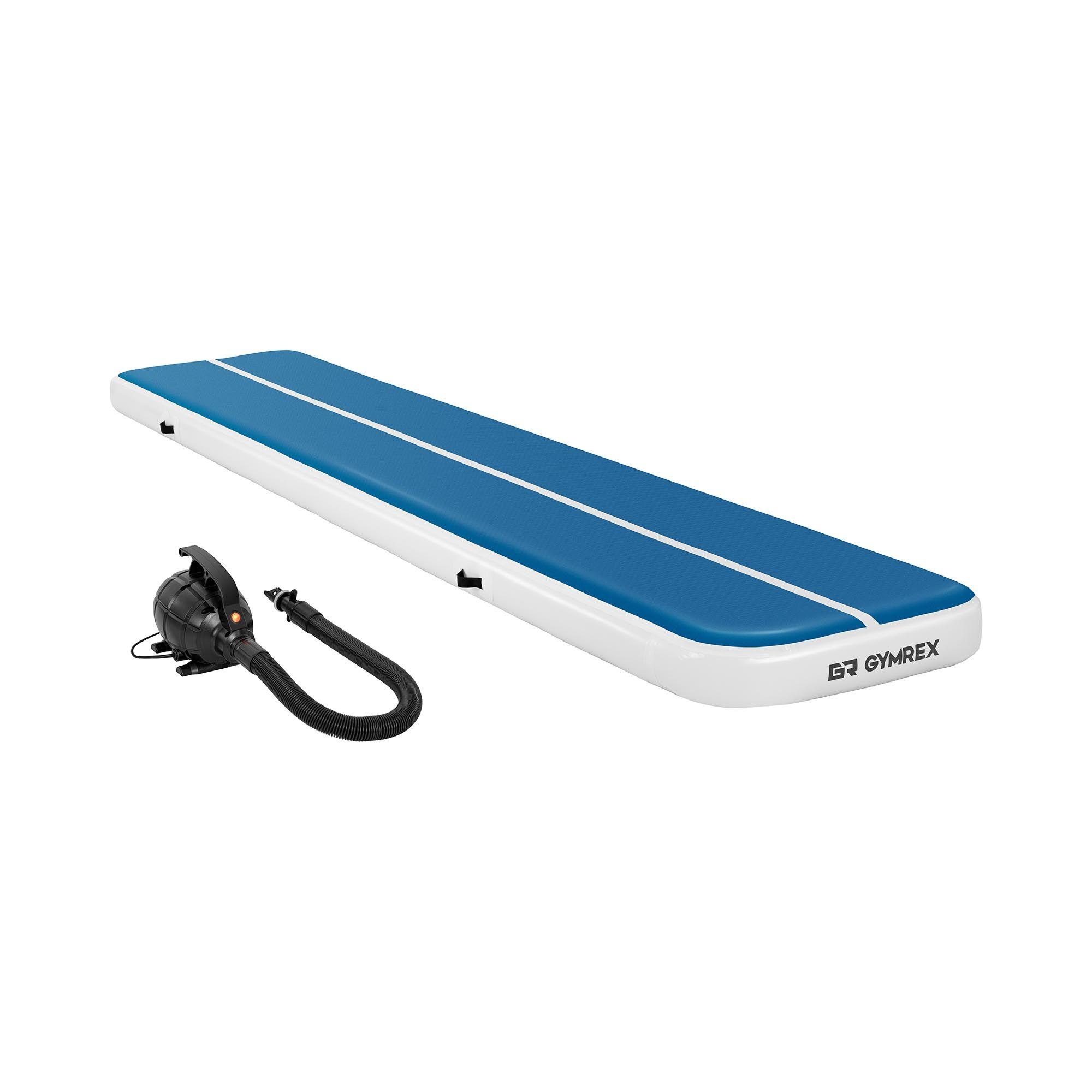Gymrex Air track - Aitrack avec gonfleur électrique - Airtrack - 500 x 100 x 20 cm - 250 kg - Bleu/blanc GR-ATM6-SET