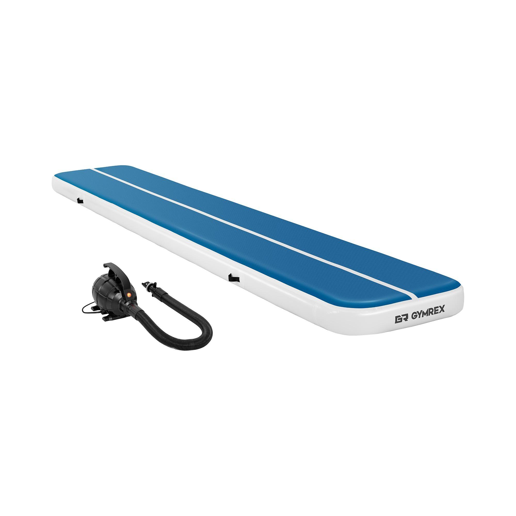 Gymrex Air track - Aitrack avec gonfleur électrique - Airtrack - 600 x 100 x 20 cm - 300 kg - Bleu/blanc GR-ATM7-SET