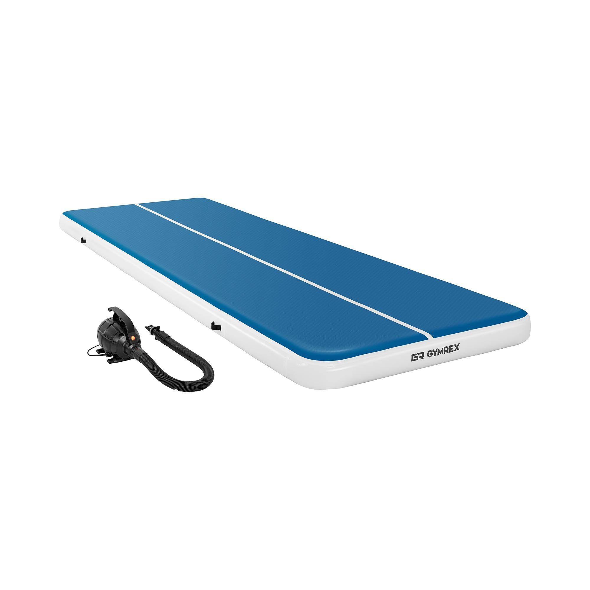 Gymrex Air track - Aitrack avec gonfleur électrique - Airtrack - 600 x 200 x 20 cm - 400 kg - Bleu/blanc GR-ATM9-SET