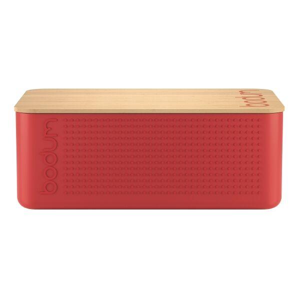 Bodum BISTRO Boite à pain grand modèle, couvercle bambou, 24 cm x 37 cm x H 14 cm Rouge