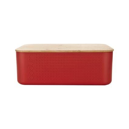 Bodum BISTRO Boîte à pain, couvercle bambou, petit modèle,  19 cm x 29 cm x H 11 cm Rouge