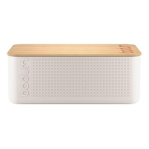 Bodum BISTRO Boite à pain petit modèle, couvercle bambou, 19 cm x 29 cm x H 11 cm  Blanc crème