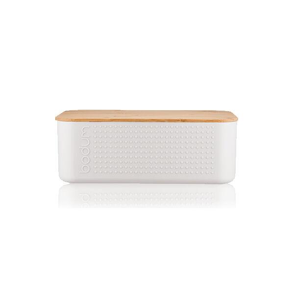 Bodum BISTRO Boite à pain grand modèle, couvercle bambou, 24 cm x 37 cm x H 14 cm  Blanc crème
