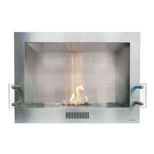 Purline ® Insert de cheminée au bio éthanol en acier inox avec pare feu en verre trempé