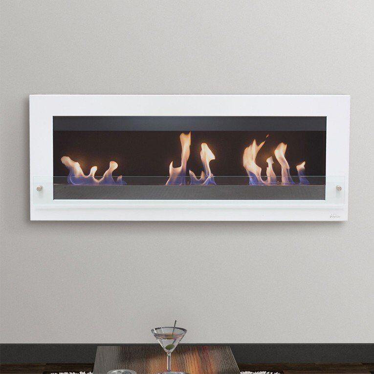 Purline ® Melibea, cheminée bio éthanol grande taille 140 Cm, noire et blanche,  triple brûleurs  style très moderne !