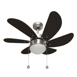 LBA Home Ventilateur de plafond avec lampe moderne Colores nickel wengé 75 cm, pour petites chambre