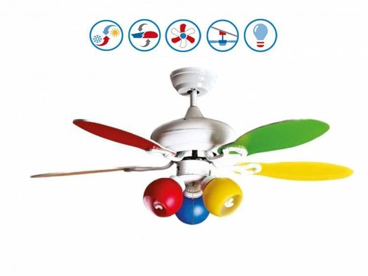 KlassFan Colore de Purline By KlassFan un ventilateur de plafond avec point lumineux réversible pales bi faces blanches ou multicolore.