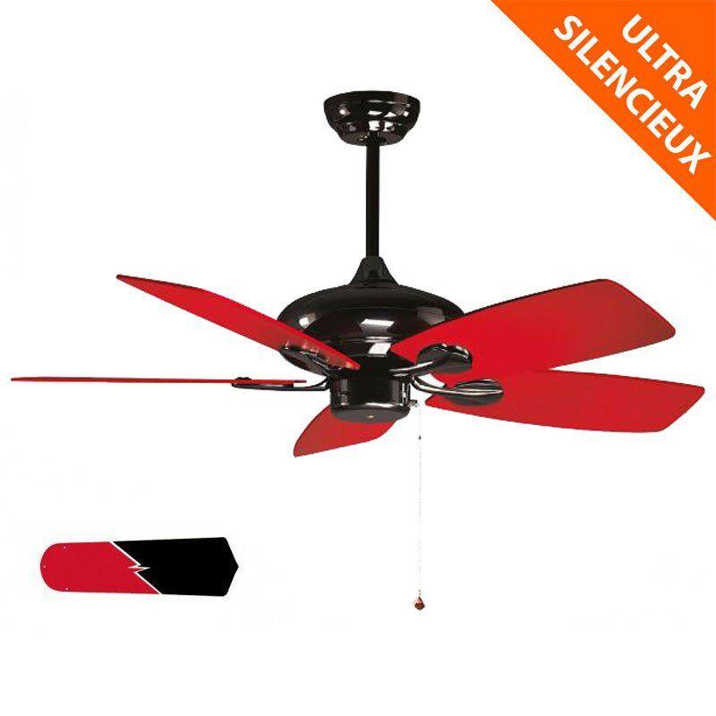 KlassFan RedWin de Purline By KlassFan un ventilateur de plafond réversible nickelé noir avec pales noires et rouge ultra design.