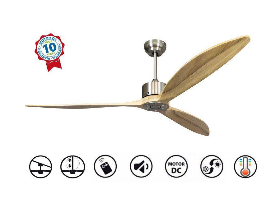 KlassFan Ventilateur de plafond, super destratificateur moteur DC, 166 Cm  pales bois , thermostat, ultra silencieux, Wifi, Latino II
