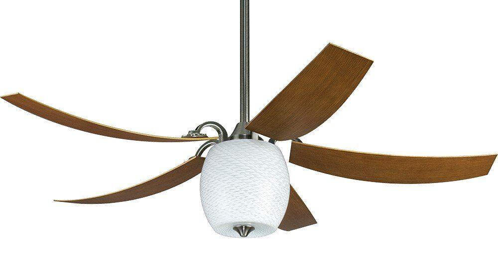 Casafan Ventilateur de plafond MARIANO PWW moderne 132 Cm. Étain Mat, Pales incurvées et Lampe ECO. Télécommande. Ultra silencieux.