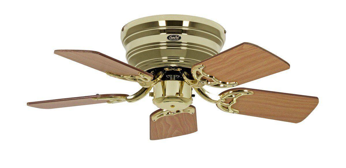 Casafan Ventilateur de plafond, Classic Flat, 79 Cm, Ultra plat, silencieux, pales Chêne antique - hêtre et Laiton Poli, CASAFAN