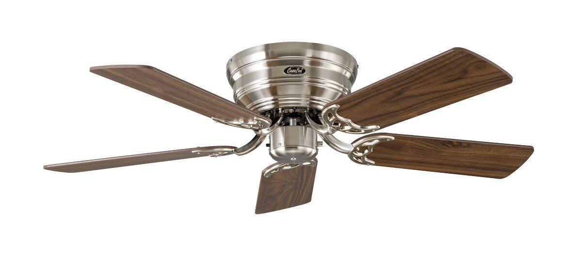 Casafan Ventilateur de plafond, Classic Flat, 103 Cm, Ultra plat, silencieux, pales Noyer - hêtre et chrome brossé, CASAFAN