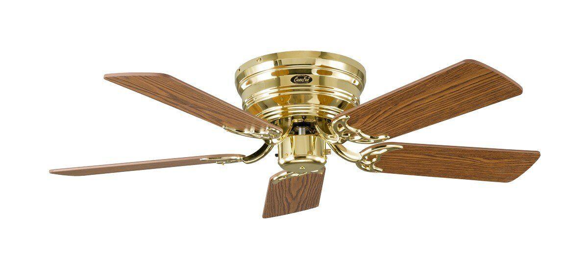 Casafan Ventilateur de plafond, Classic Flat, 103 Cm, Ultra plat, silencieux, pales chêne - hêtre et laiton poli, CASAFAN