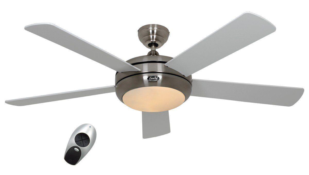 Casafan Ventilateur de plafond, design silencieux 132 Cm, télécommande, chrome brossé pales bois blanches laquée lampe CASAFAN Titanuim